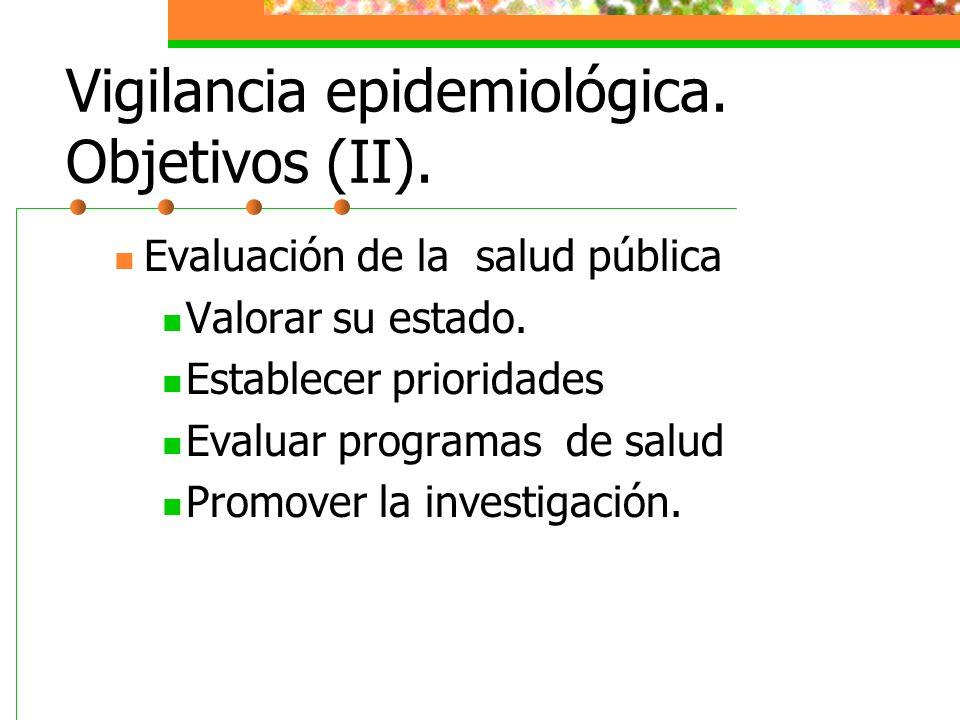 Vigilancia epidemiológica. Objetivos (II). Evaluación de la salud pública Valorar su estado. Establecer prioridades Evaluar programas de salud Promove