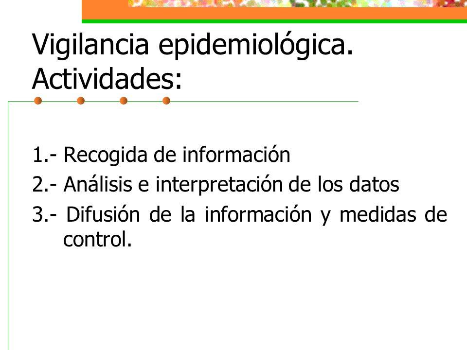 Vigilancia epidemiológica. Actividades: 1.- Recogida de información 2.- Análisis e interpretación de los datos 3.- Difusión de la información y medida