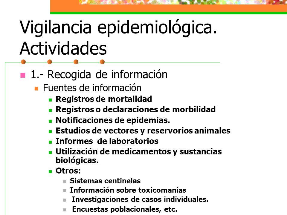 Vigilancia epidemiológica. Actividades 1.- Recogida de información Fuentes de información Registros de mortalidad Registros o declaraciones de morbili