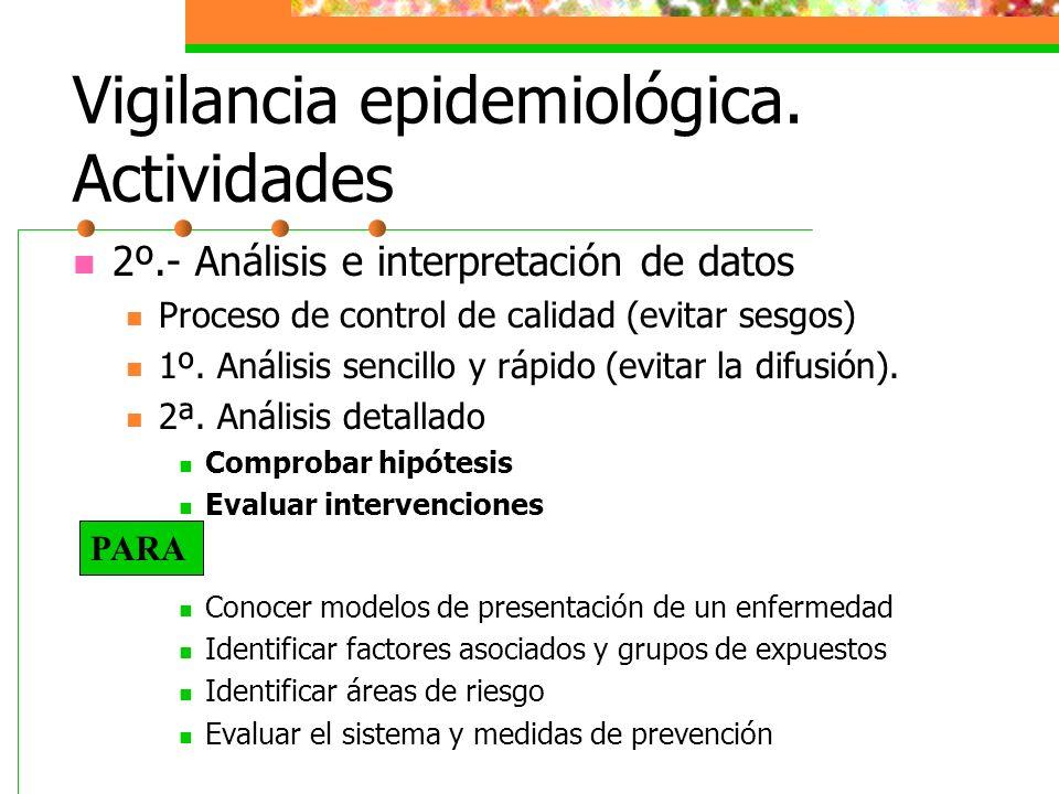 Vigilancia epidemiológica. Actividades 2º.- Análisis e interpretación de datos Proceso de control de calidad (evitar sesgos) 1º. Análisis sencillo y r
