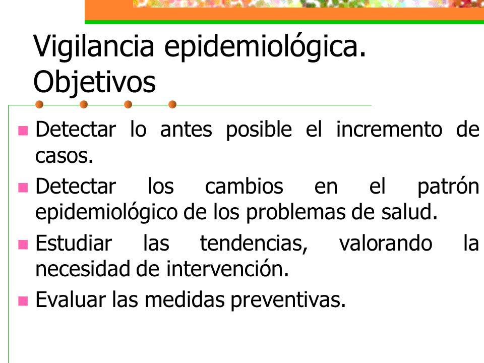 Vigilancia epidemiológica. Objetivos Detectar lo antes posible el incremento de casos. Detectar los cambios en el patrón epidemiológico de los problem
