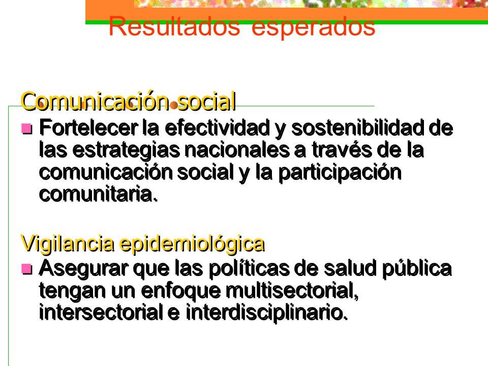 Resultados esperados Comunicación social Fortelecer la efectividad y sostenibilidad de las estrategias nacionales a través de la comunicación social y