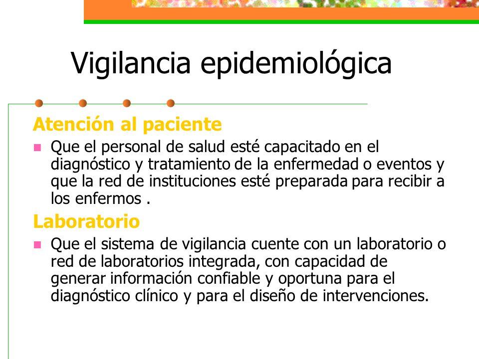 Vigilancia epidemiológica Atención al paciente Que el personal de salud esté capacitado en el diagnóstico y tratamiento de la enfermedad o eventos y q