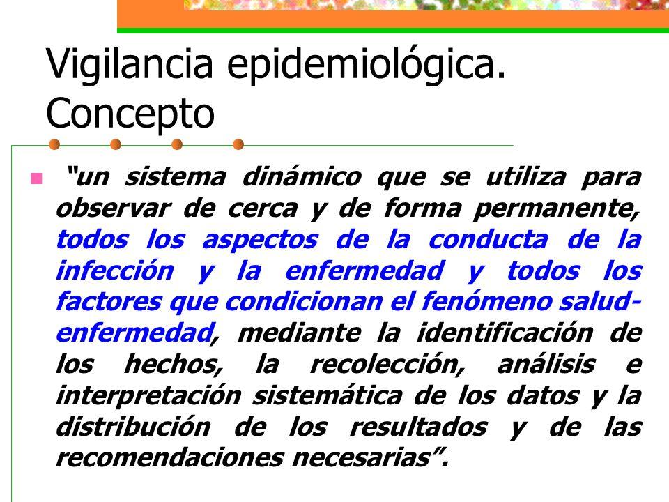 Vigilancia epidemiológica. Concepto un sistema dinámico que se utiliza para observar de cerca y de forma permanente, todos los aspectos de la conducta