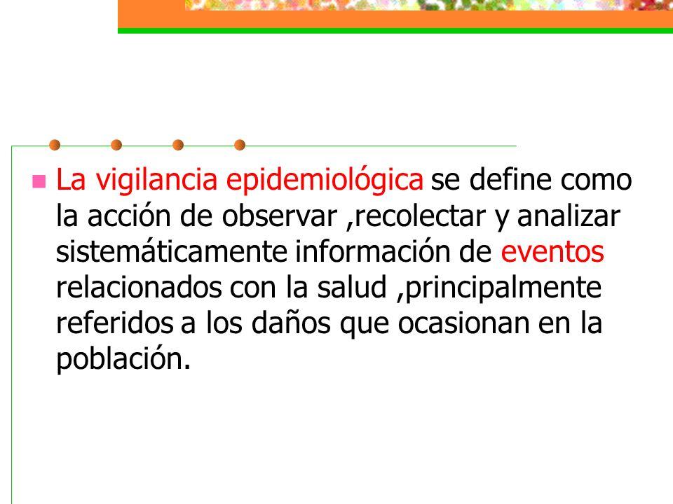 La vigilancia epidemiológica se refleja en la capacidad de generar información útil para orientar los programas y las intervenciones que se requieren en la atención de los padecimientos que afectan a la comunidad,siendo un elemento indispensable para la planeación y la evaluación del impacto en salud.