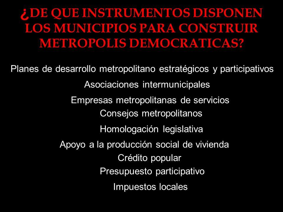 ¿ DE QUE INSTRUMENTOS DISPONEN LOS MUNICIPIOS PARA CONSTRUIR METROPOLIS DEMOCRATICAS.