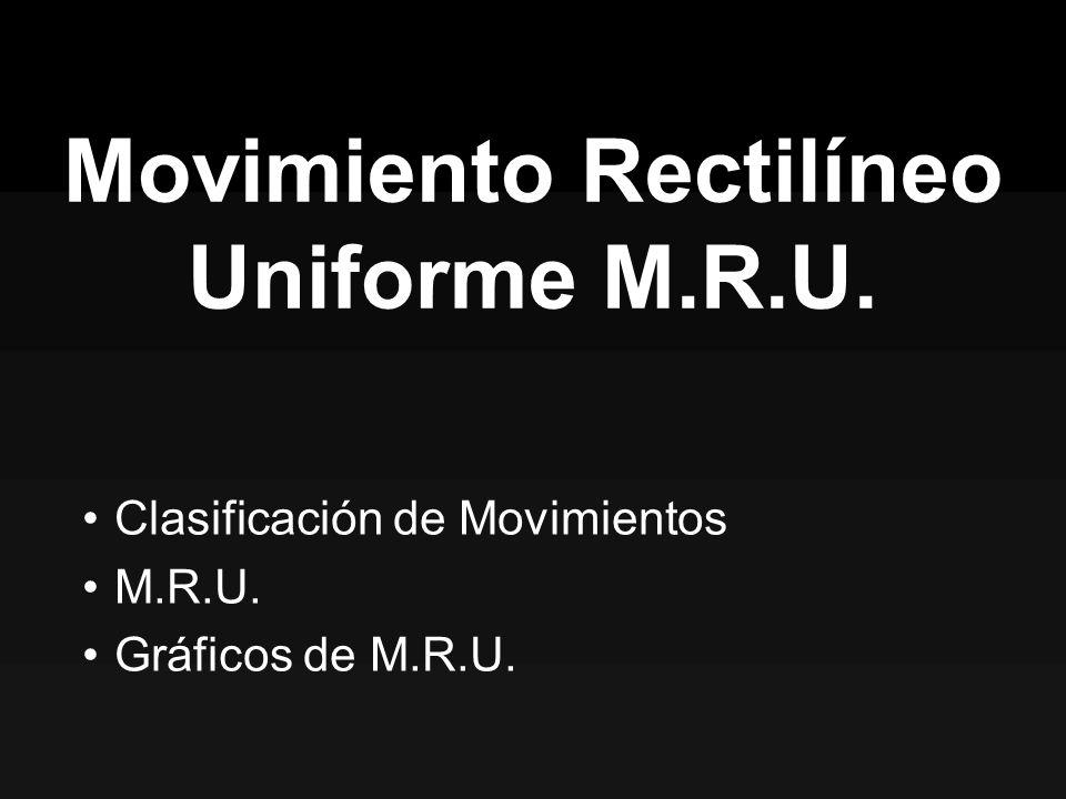 Movimiento Rectilíneo Uniforme M.R.U. Clasificación de Movimientos M.R.U. Gráficos de M.R.U.