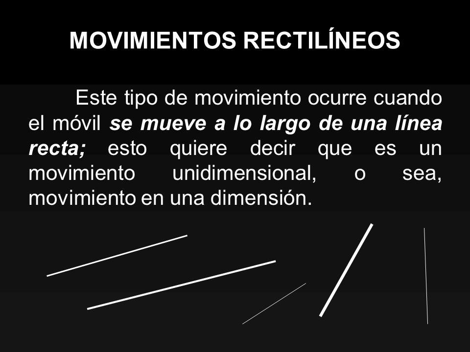 MOVIMIENTOS RECTILÍNEOS Este tipo de movimiento ocurre cuando el móvil se mueve a lo largo de una línea recta; esto quiere decir que es un movimiento