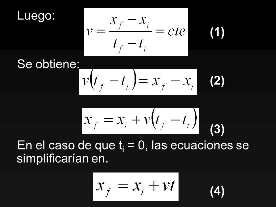 Luego: (1) Se obtiene: (2) (3) En el caso de que t i = 0, las ecuaciones se simplificarían en. (4)