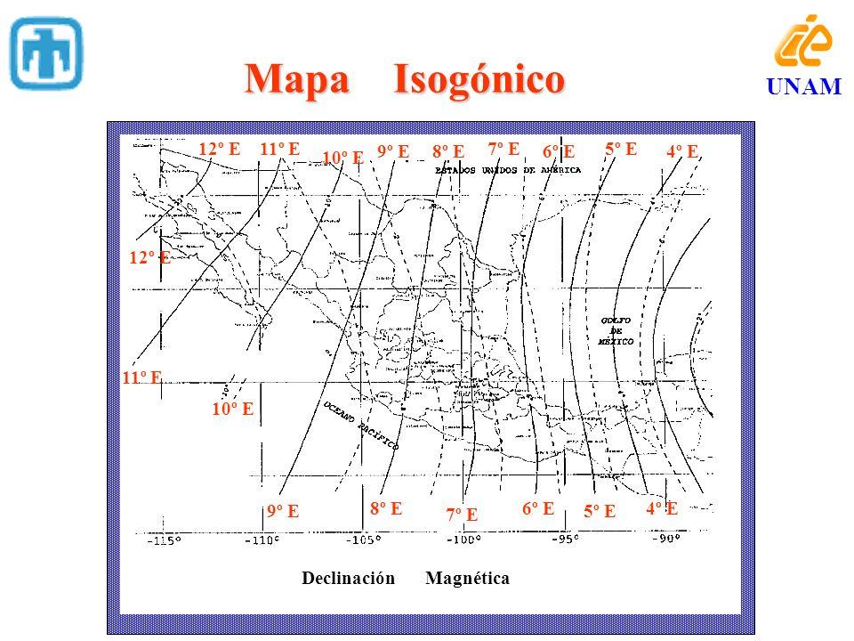 Mapa Isogónico 12º E 10º E 11º E 8º E6º E4º E 7º E 9º E 12º E 10º E 11º E 8º E6º E 7º E 9º E5º E 4º E 5º E Declinación Magnética UNAM