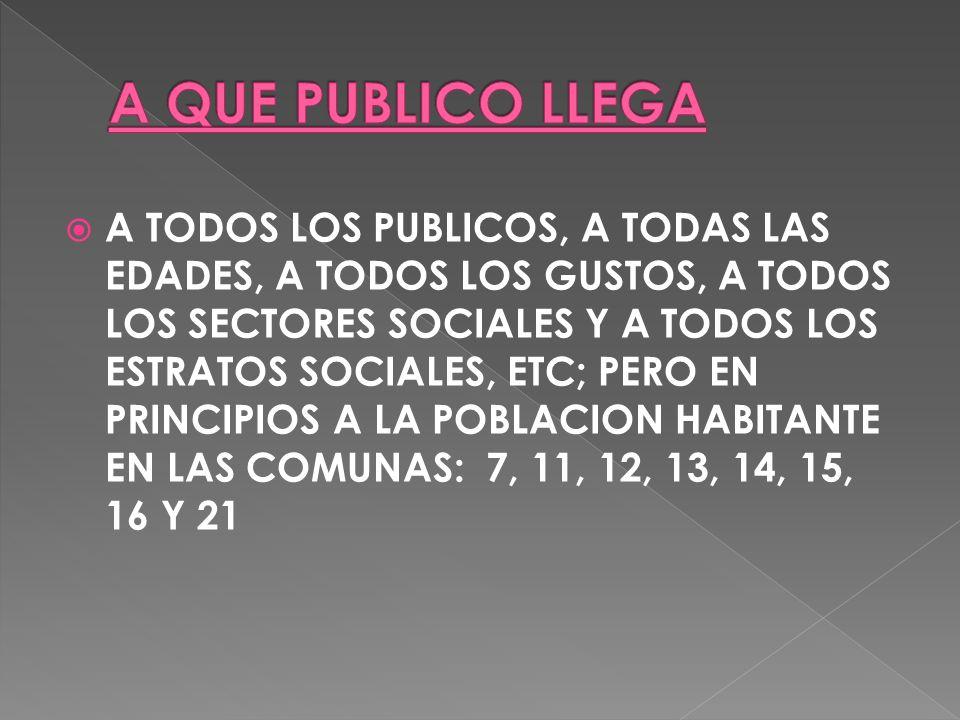 A TODOS LOS PUBLICOS, A TODAS LAS EDADES, A TODOS LOS GUSTOS, A TODOS LOS SECTORES SOCIALES Y A TODOS LOS ESTRATOS SOCIALES, ETC; PERO EN PRINCIPIOS A