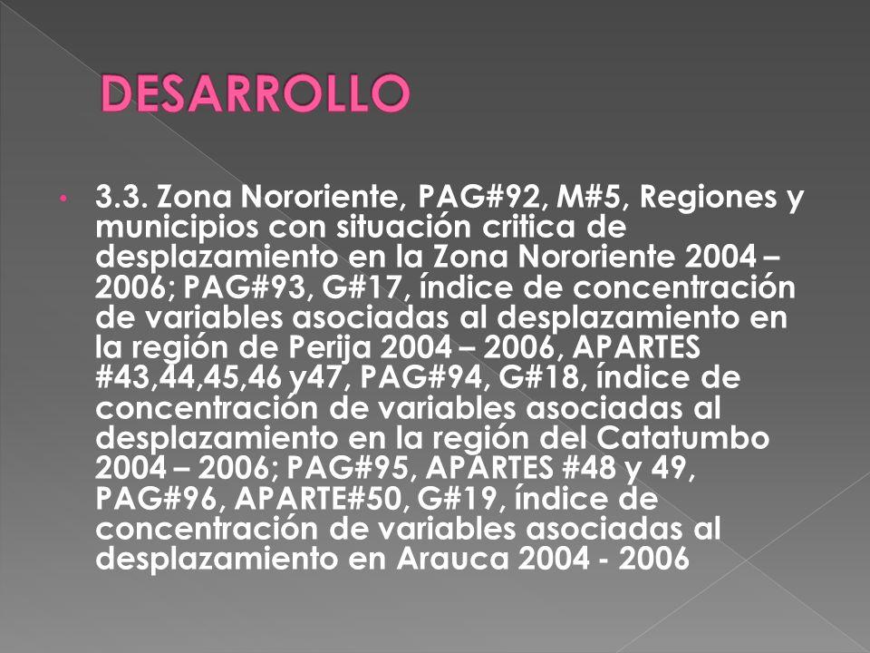 3.3. Zona Nororiente, PAG#92, M#5, Regiones y municipios con situación critica de desplazamiento en la Zona Nororiente 2004 – 2006; PAG#93, G#17, índi