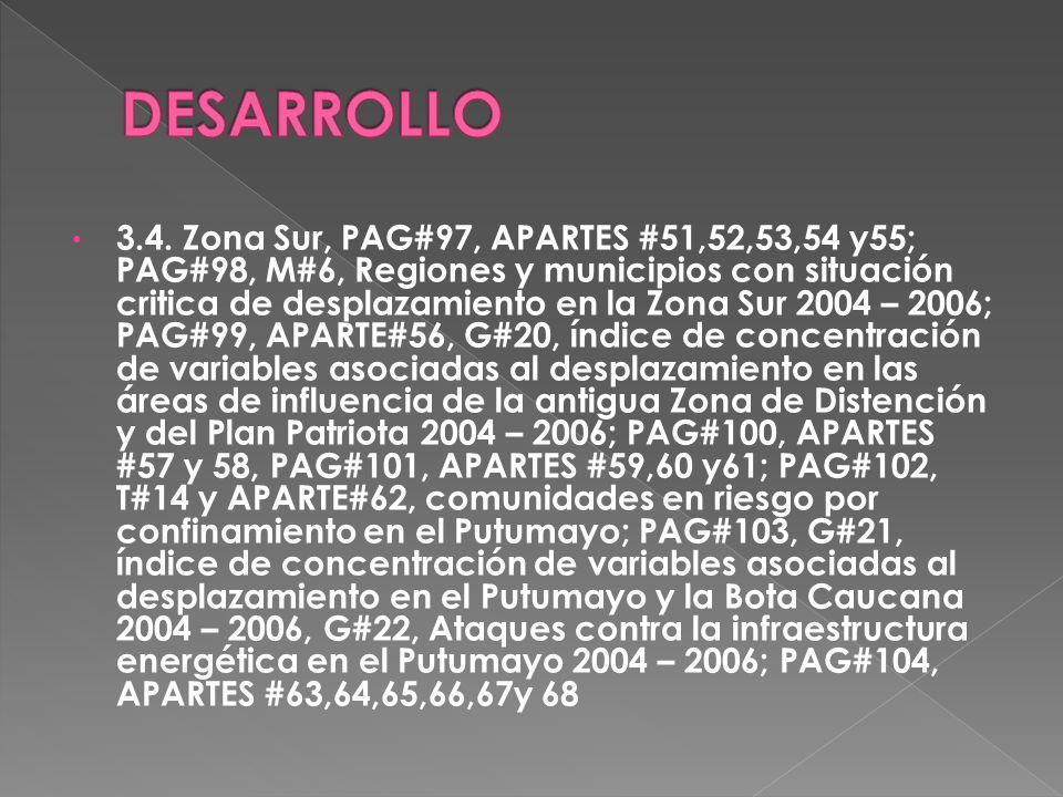 3.4. Zona Sur, PAG#97, APARTES #51,52,53,54 y55; PAG#98, M#6, Regiones y municipios con situación critica de desplazamiento en la Zona Sur 2004 – 2006