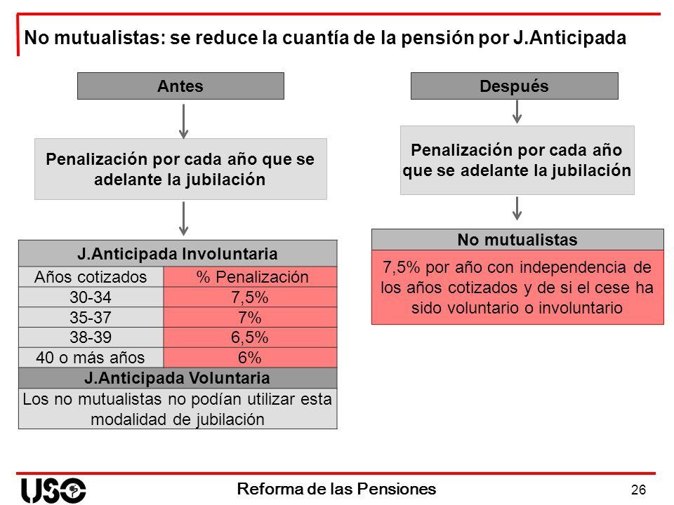 26 Reforma de las Pensiones No mutualistas: se reduce la cuantía de la pensión por J.Anticipada Antes Penalización por cada año que se adelante la jub