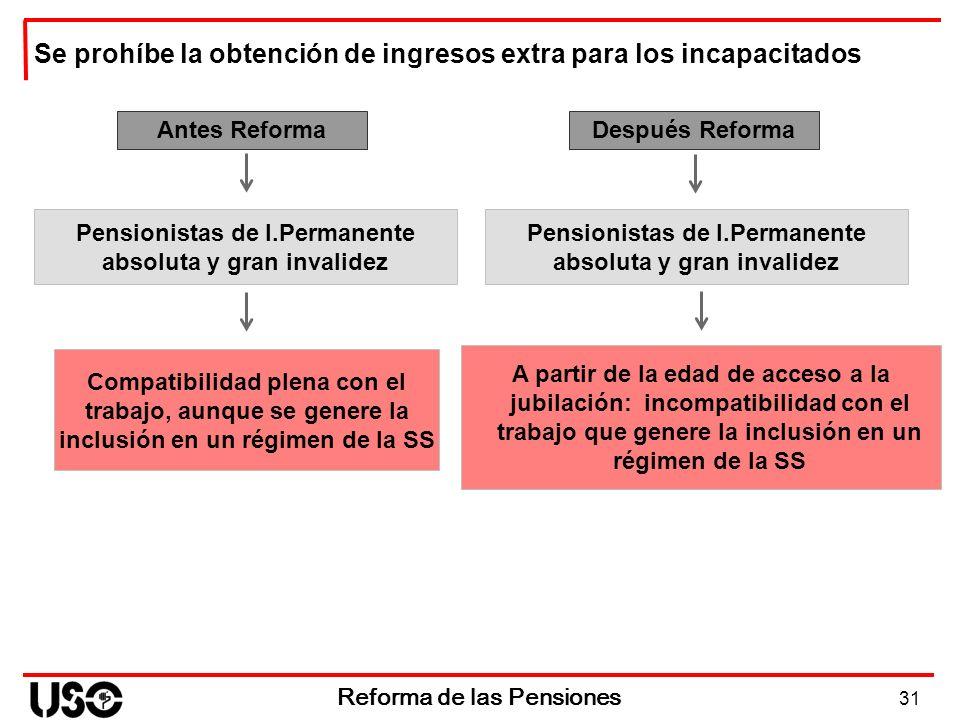 31 Reforma de las Pensiones Antes Reforma Compatibilidad plena con el trabajo, aunque se genere la inclusión en un régimen de la SS Después Reforma A