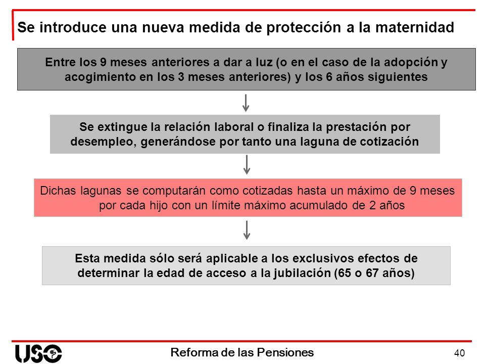 40 Reforma de las Pensiones Entre los 9 meses anteriores a dar a luz (o en el caso de la adopción y acogimiento en los 3 meses anteriores) y los 6 año