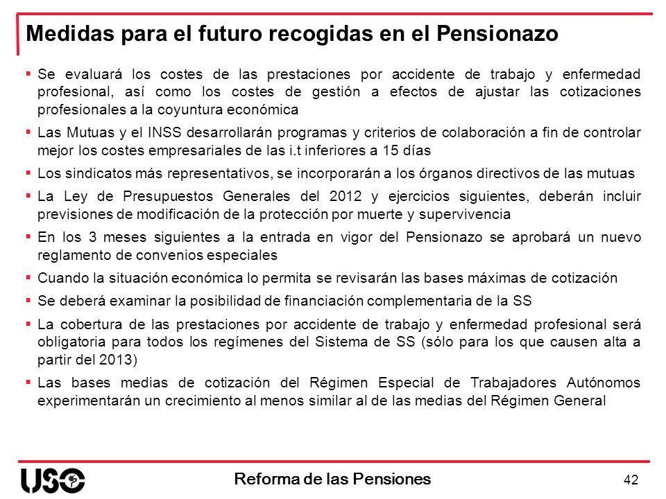 Medidas para el futuro recogidas en el Pensionazo 42 Reforma de las Pensiones Se evaluará los costes de las prestaciones por accidente de trabajo y en