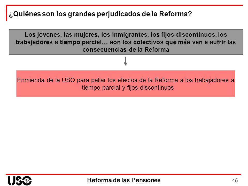 45 Reforma de las Pensiones Los jóvenes, las mujeres, los inmigrantes, los fijos-discontinuos, los trabajadores a tiempo parcial… son los colectivos q