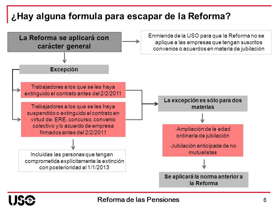 6 Reforma de las Pensiones ¿Hay alguna formula para escapar de la Reforma? La Reforma se aplicará con carácter general Trabajadores a los que se les h
