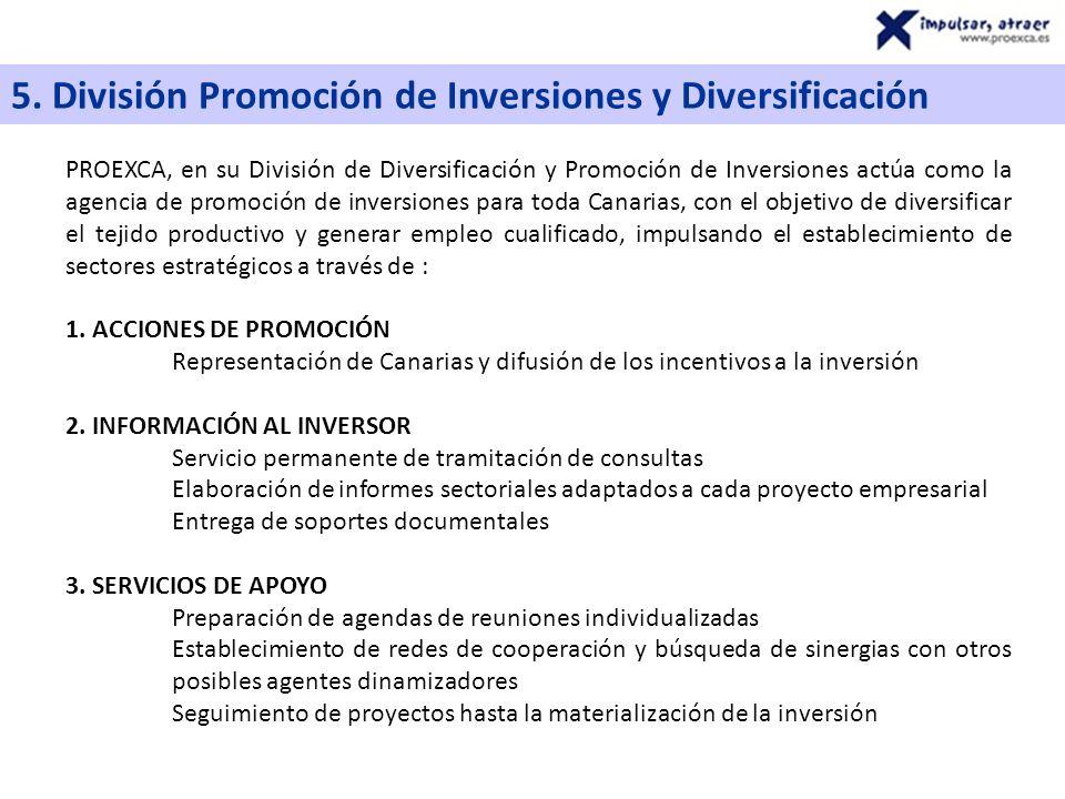 5. División Promoción de Inversiones y Diversificación PROEXCA, en su División de Diversificación y Promoción de Inversiones actúa como la agencia de