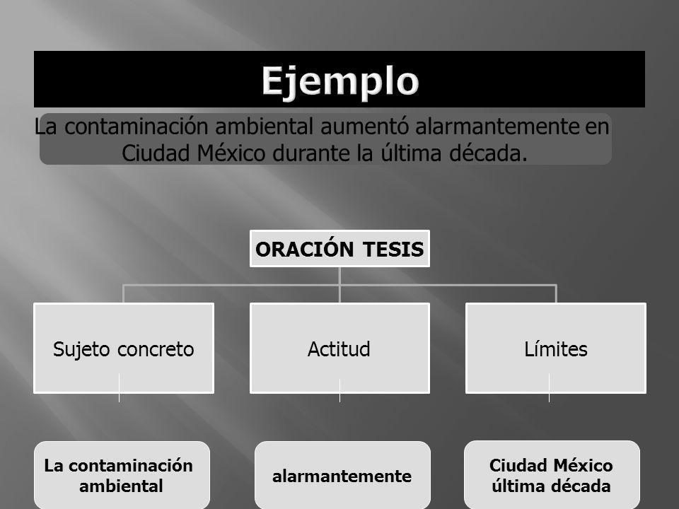ORACIÓN TESIS Sujeto concretoActitudLímites La contaminación ambiental aumentó alarmantemente en Ciudad México durante la última década. La contaminac