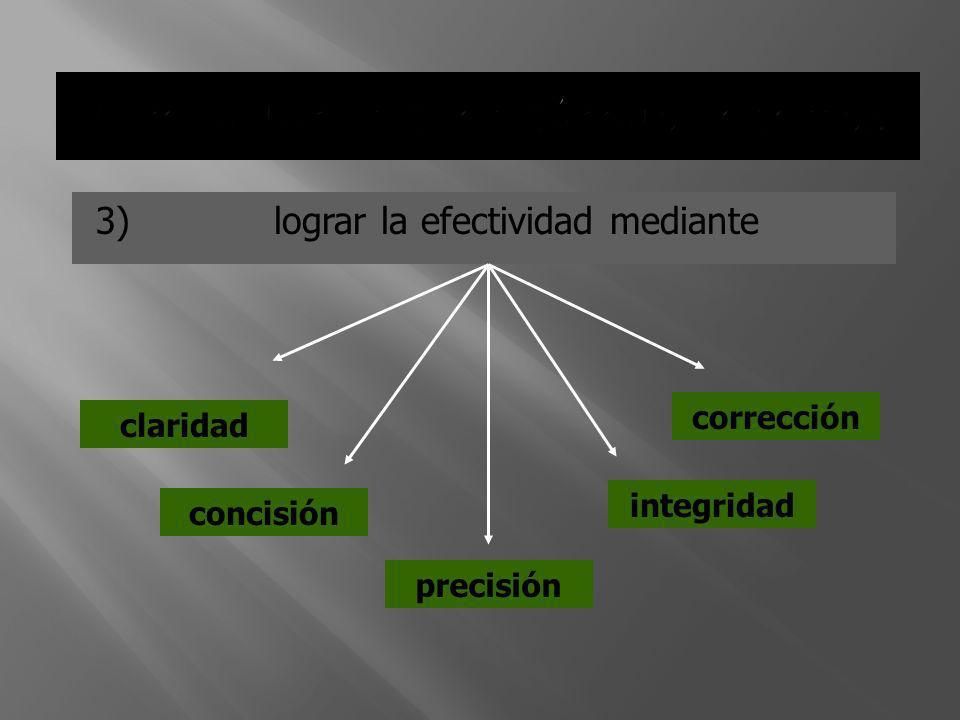 3) lograr la efectividad mediante claridad concisión precisión corrección integridad