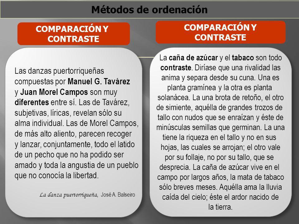 Métodos de ordenación COMPARACIÓN Y CONTRASTE COMPARACIÓN Y CONTRASTE Las danzas puertorriqueñas compuestas por Manuel G. Tavárez y Juan Morel Campos
