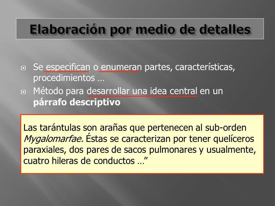 Se especifican o enumeran partes, características, procedimientos … Método para desarrollar una idea central en un párrafo descriptivo Las tarántulas