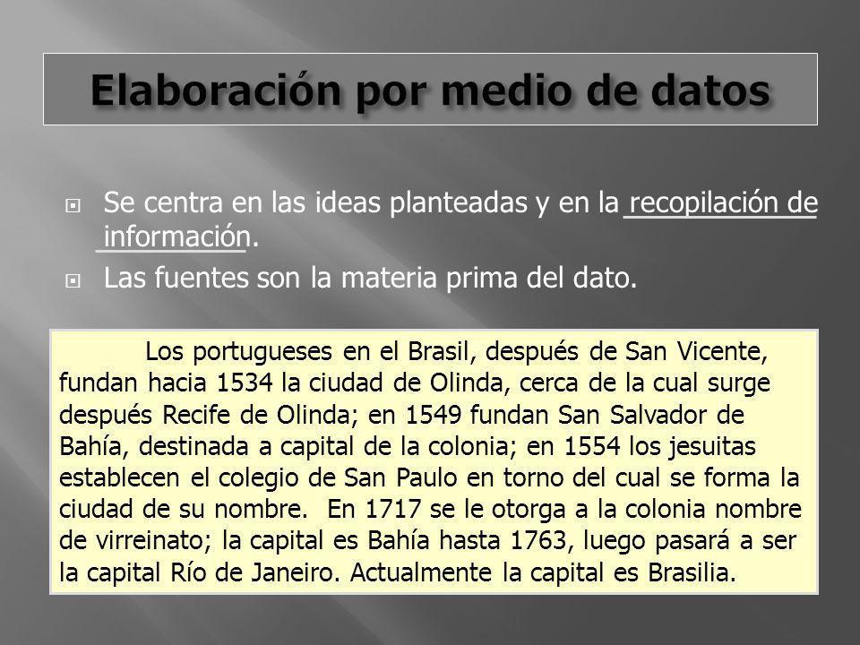 Se centra en las ideas planteadas y en la recopilación de información. Las fuentes son la materia prima del dato. Los portugueses en el Brasil, despué
