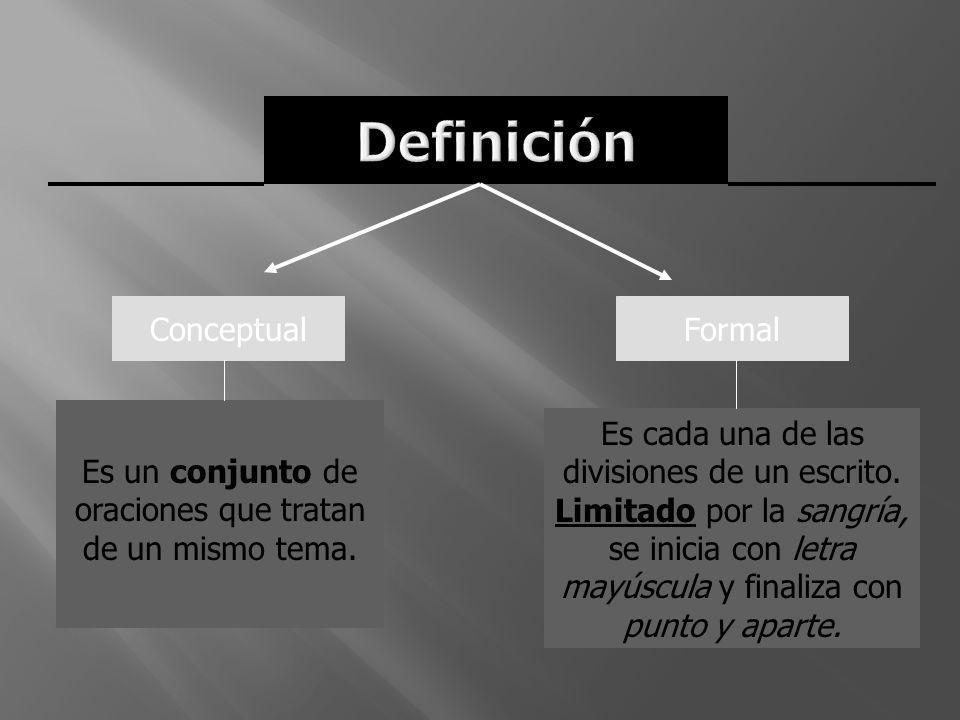 ConceptualFormal Es un conjunto de oraciones que tratan de un mismo tema. Es cada una de las divisiones de un escrito. Limitado por la sangría, se ini