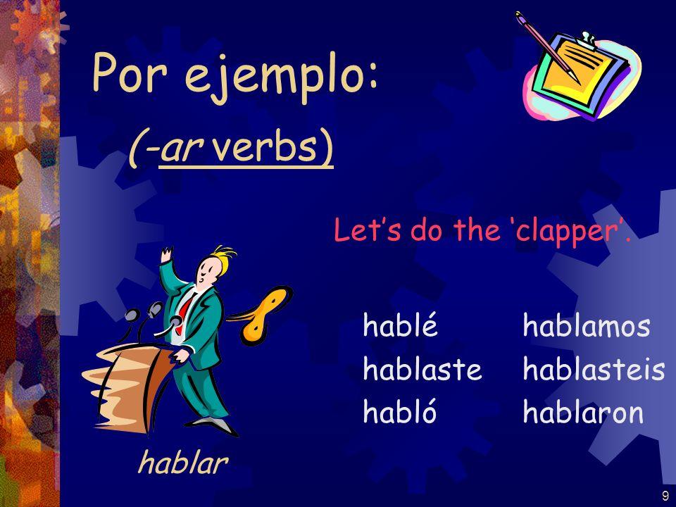 19 (-gar verbs) jugué jugaste jugó jugamos jugasteis jugaron Por ejemplo: jugar Lets do the clapper.