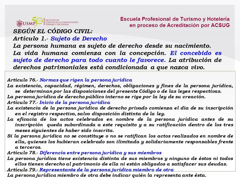 Escuela Profesional de Turismo y Hotelería en proceso de Acreditación por ACSUG PERSONA NATURAL PERSONA NATURAL PERSONA JURÍDICA PERSONA JURÍDICA 2.1.