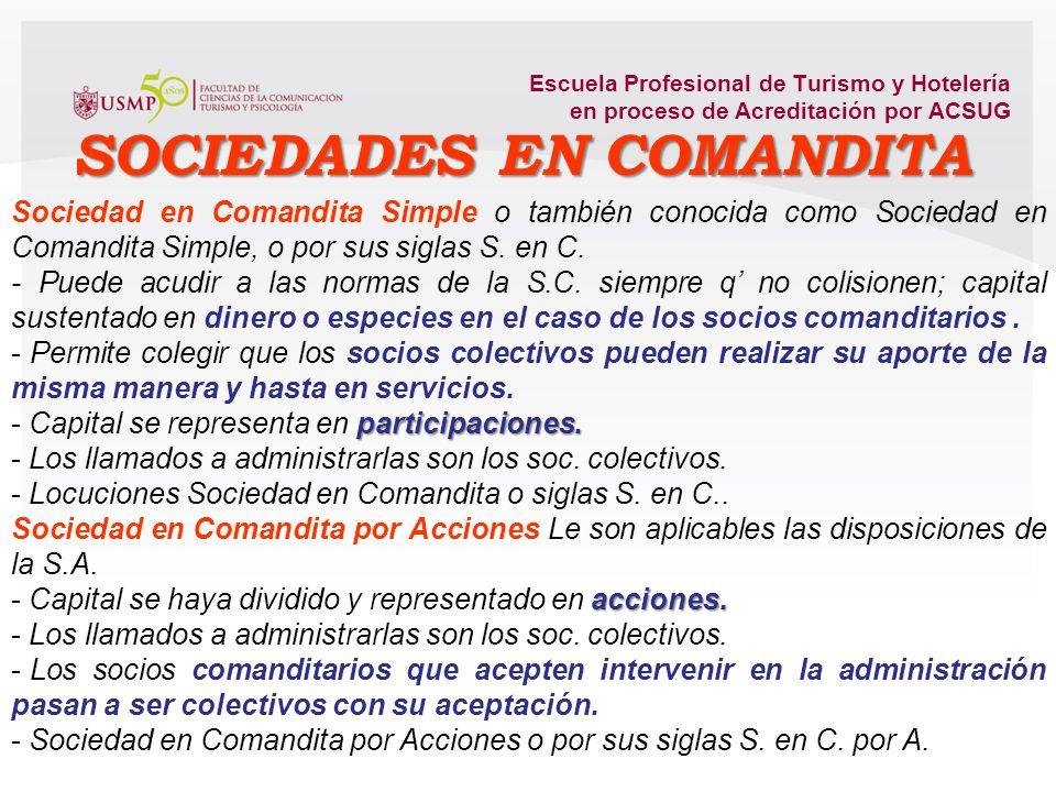 Escuela Profesional de Turismo y Hotelería en proceso de Acreditación por ACSUG responsabilidad solidaria e ilimitada. - Prevalece carácter personal,