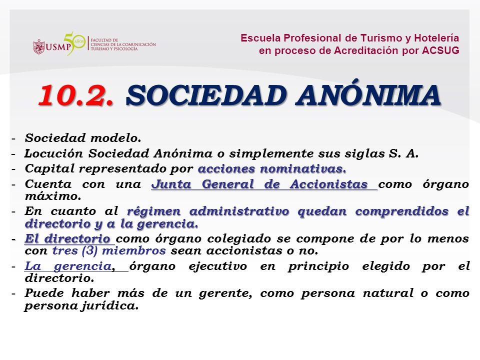 Escuela Profesional de Turismo y Hotelería en proceso de Acreditación por ACSUG Sociedad en Comandita Simple o también conocida como Sociedad en Coman