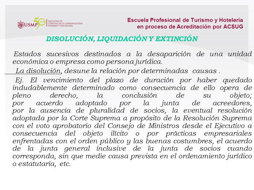 Escuela Profesional de Turismo y Hotelería en proceso de Acreditación por ACSUG La escisión contrario a la fusión o agrupamiento empresarial, fraccion