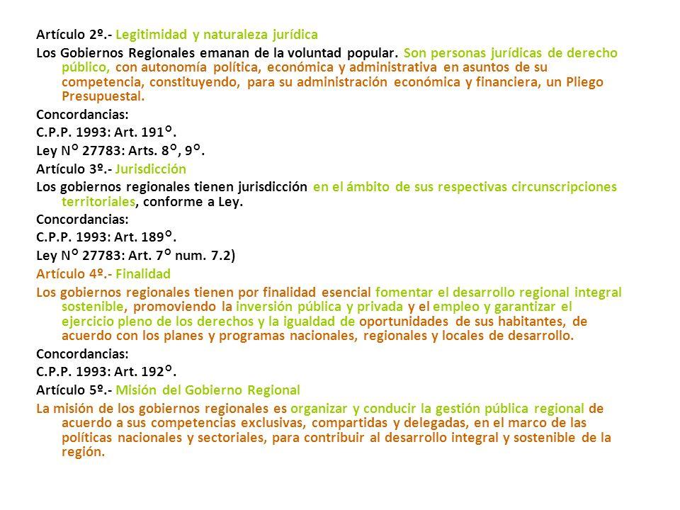 16/11/2002.- L. Nº 27867.- Ley Orgánica de Gobiernos Regionales. (18/11/2002) LEY Nº 27867 LEY ORGÁNICA DE GOBIERNOS REGIONALES TITULO I DISPOSICIONES