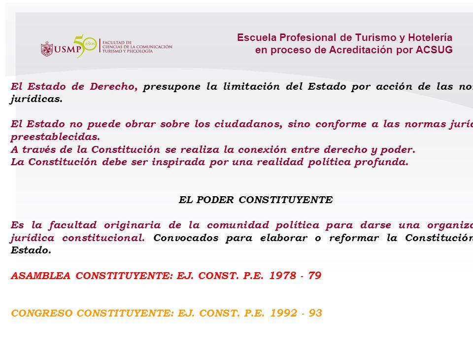 Escuela Profesional de Turismo y Hotelería en proceso de Acreditación por ACSUG 2.2. LA CONSTITUCIÓN POLÍTICA DEL PERÚ. TEORÍA DE LA CONSTITUCIÓN Y DE