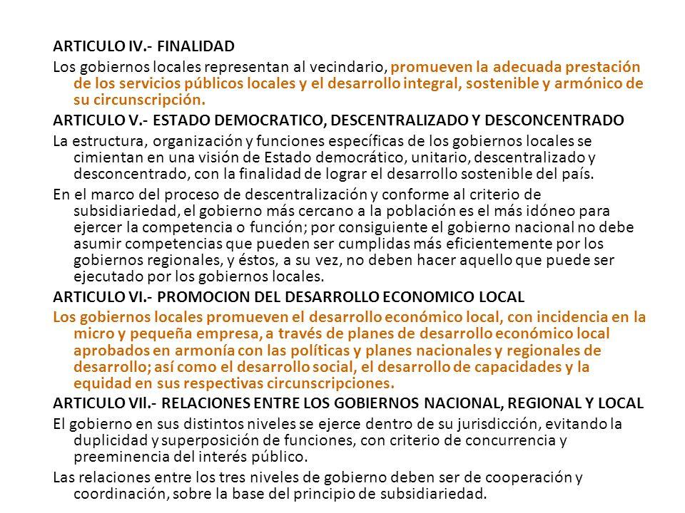 26/05/2003.- Ley Nº 27972.- Ley Orgánica de Municipalidades. (27/05/2003) LEY Nº 27972 LEY ORGANICA DE MUNICIPALIDADES TITULO PRELIMINAR ARTICULO I.-