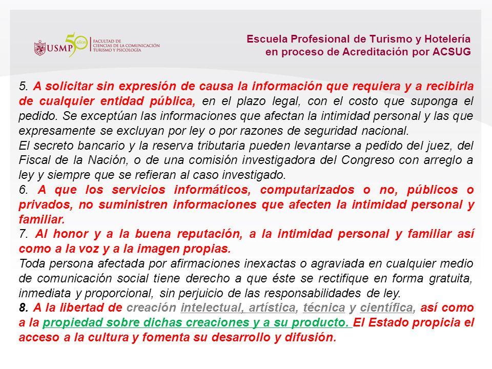 Escuela Profesional de Turismo y Hotelería en proceso de Acreditación por ACSUG 2. A la igualdad ante la ley. Nadie debe ser discriminado por motivo d