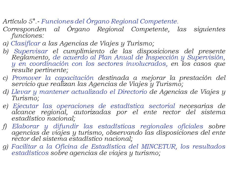 CAPÍTULO II DE LA COMPETENCIA Y FUNCIONES Artículo 4°.- Competencia. Los Órganos Regionales Competentes para la aplicación del presente Reglamento son
