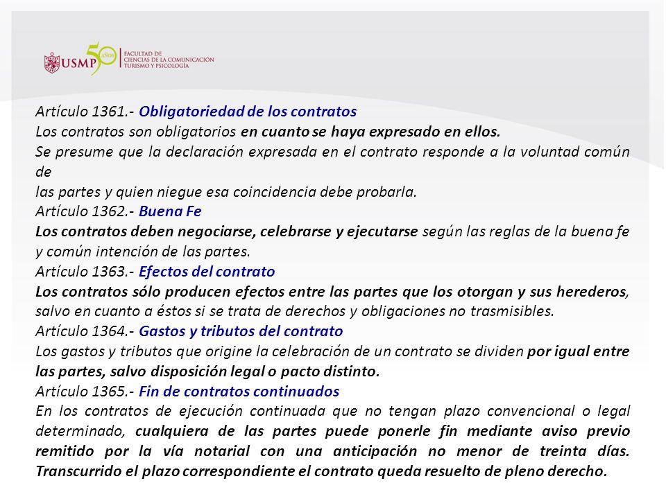 Escuela Profesional de Turismo y Hotelería en proceso de Acreditación por ACSUG Artículo 1352.- Perfección de contratos Los contratos se perfeccionan