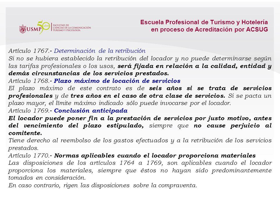 Escuela Profesional de Turismo y Hotelería en proceso de Acreditación por ACSUG 4.2. El Contrato de Locación de Servicios en el Código Civil. Artículo