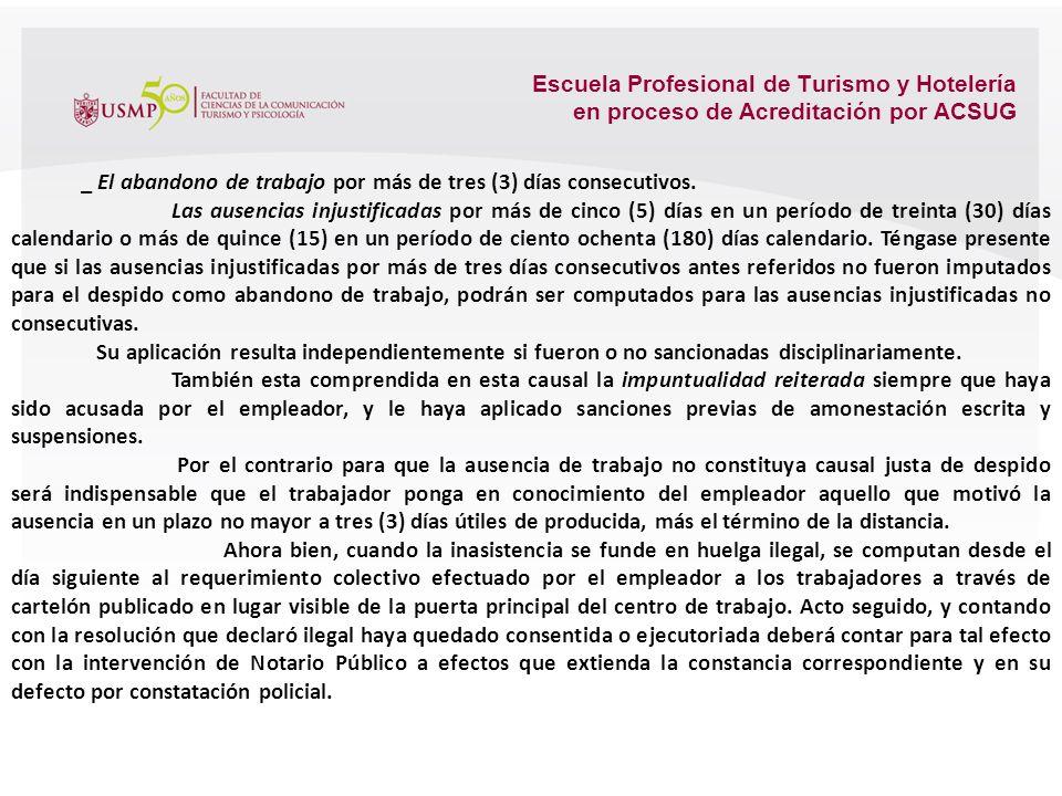 Escuela Profesional de Turismo y Hotelería en proceso de Acreditación por ACSUG _ La concurrencia reiterada en estado de embriaguez o bajo influencia