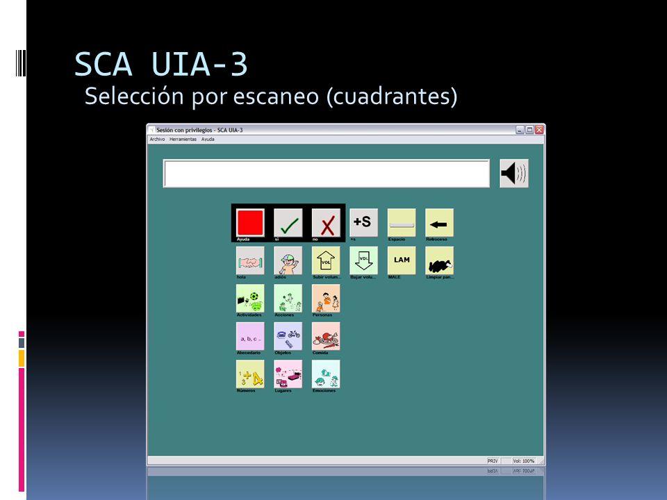 SCA UIA-3 Selección por escaneo (cuadrantes)