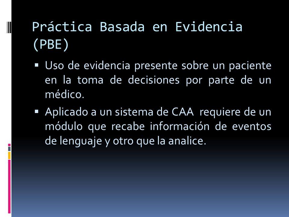Práctica Basada en Evidencia (PBE) Uso de evidencia presente sobre un paciente en la toma de decisiones por parte de un médico. Aplicado a un sistema