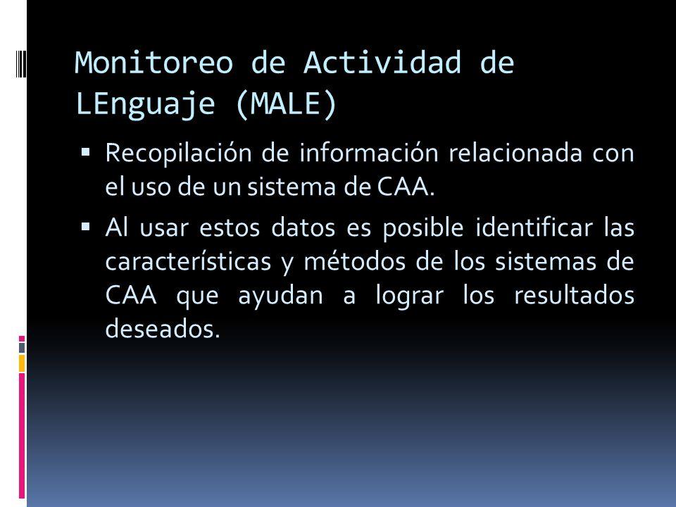 Monitoreo de Actividad de LEnguaje (MALE) Recopilación de información relacionada con el uso de un sistema de CAA. Al usar estos datos es posible iden
