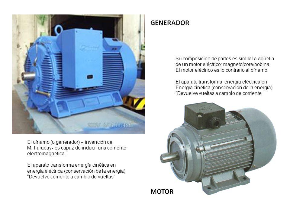El dínamo (o generador) – invención de M. Faraday- es capaz de inducir una corriente electromagnética. El aparato transforma energía cinética en energ