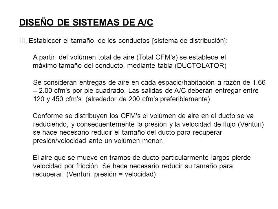 DISEÑO DE SISTEMAS DE A/C III. Establecer el tamaño de los conductos [sistema de distribución]: A partir del volúmen total de aire (Total CFMs) se est