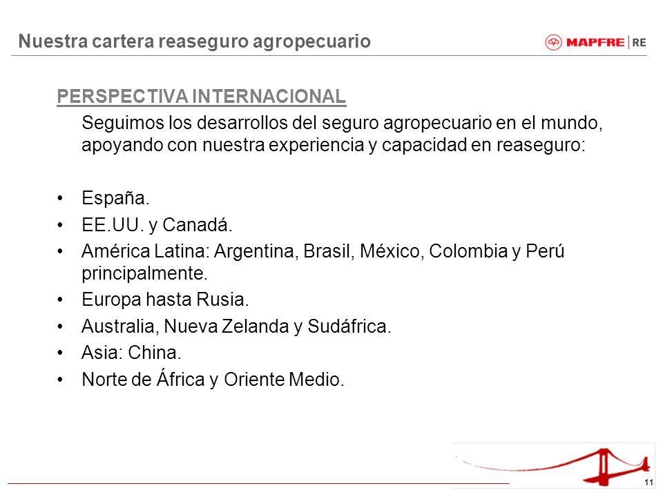 11 Nuestra cartera reaseguro agropecuario PERSPECTIVA INTERNACIONAL Seguimos los desarrollos del seguro agropecuario en el mundo, apoyando con nuestra
