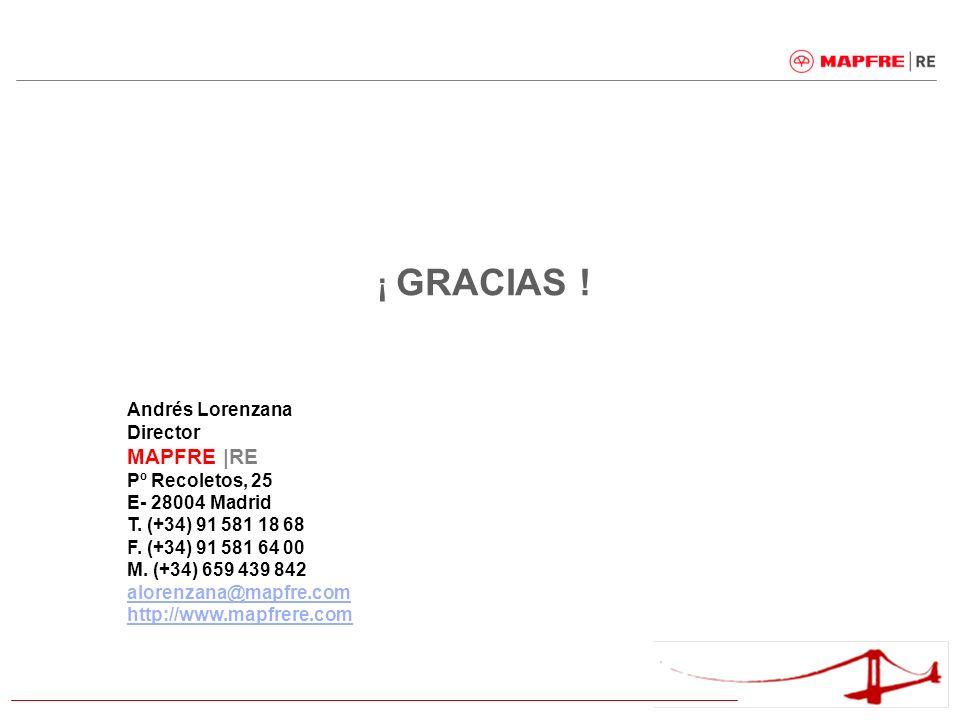 ¡ GRACIAS ! Andrés Lorenzana Director MAPFRE |RE Pº Recoletos, 25 E- 28004 Madrid T. (+34) 91 581 18 68 F. (+34) 91 581 64 00 M. (+34) 659 439 842 alo